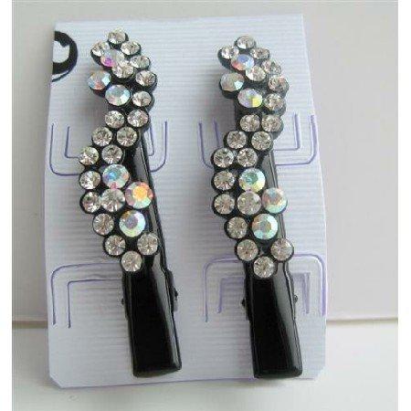 HA106  Black Hair Pin Crystals Flower Pair Hair Pin/Clip Crystals Hair Accessories Pair