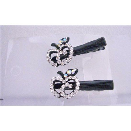 HA404  Simulated Diamond Apple Pair Hair Clamps Clip Sleek & Sparkling Clamps