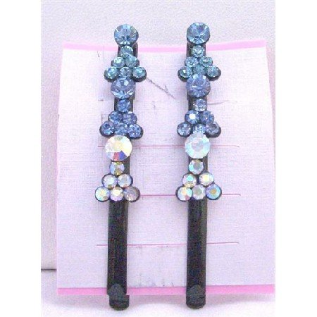 HA477  Aquamarine Sapphire Crystals Hair Pin Black Pin/Clip Crystals Hair Accessories Pair