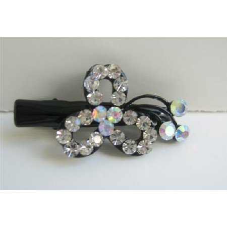 HA311  Simulated Diamond Flower Hair Clamps Clip Sleek & Sparkling Clamps