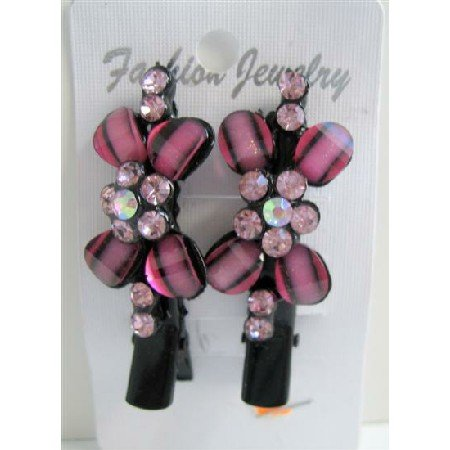 HA176  Hair Clamps Pair Vintage Pink Flower Encrusted w/ Rose Pink Crystals Pretty Hair Clamp