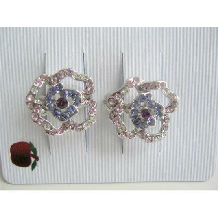 HA035  Flower Shades of Blue Amethyst Crystals Hair Barrette Clip