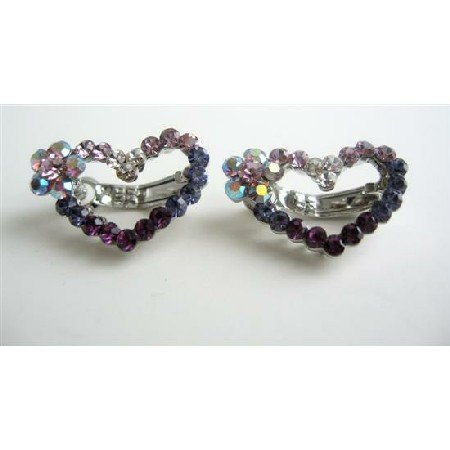 HA065  Amethyst Crystals Heart Barrette Austrian Crystals Hair Barrette Pin/Clip