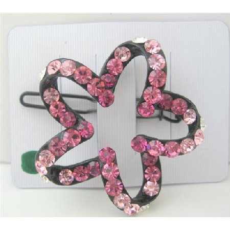 HA100  Pink Crystals Sparkling Star Flower Hair Barrette Hair Barrette