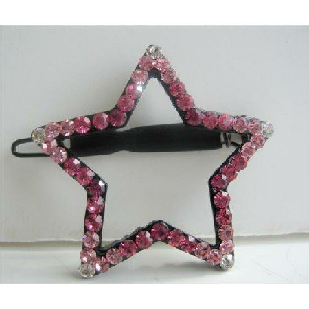 HA146  Rose Pink Crystals Star Hair Barrette Party Austrian Crystals Hair Clip