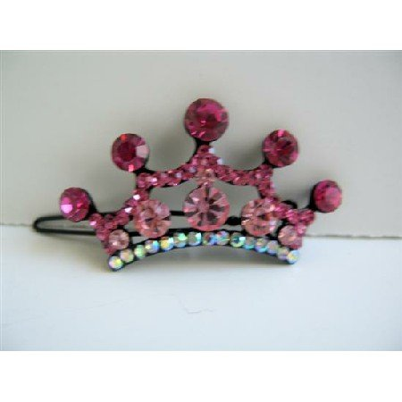 HA303  Pink Sparkling Hair Barrette Crown Crystals Hair Barrette Clip