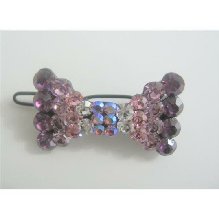 HA131  Crystals Bow Bridal Barrette Hair Clip Genuine Swarovski Austrian Crystals Clip