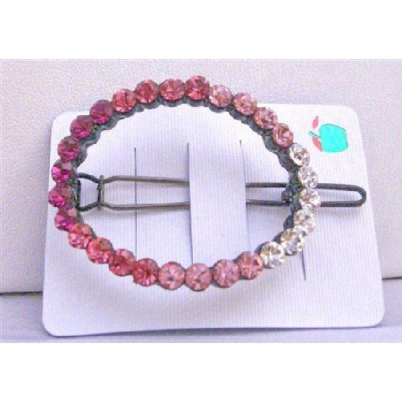 HA103  Rose Crystals Barrette Rose Pink LIght & Dark w/ Clear Crystals Clip