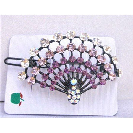 HA220  Amethyst Crystals Light & Dark w/ Clear Crystals Clip