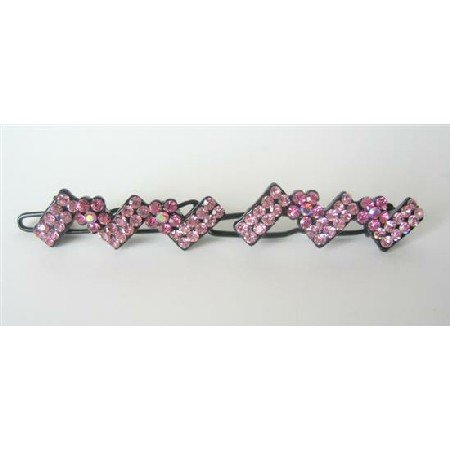 HA173  Rose Pink Crystals Hair Accessory Clip Pretty Hair Barrette