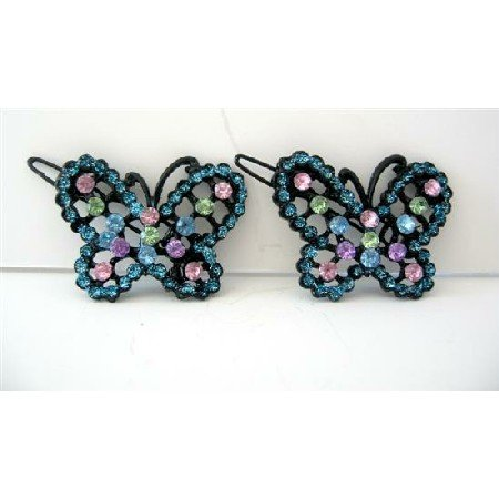 HA203  Aquamarine Hair Barrette w/ Multi Colored Rhinestones Butterfly Hair Clip