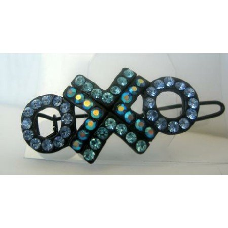 HA133COUNTRY BLUE & GREEN CRYSTAL BARRETTE Party Wear Accessories Austrian Crystals Clip