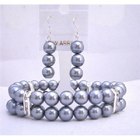 TB617 Grey Pearls w/ Sterling Silver Earrings Stretchable & Silver Rondells Spacer