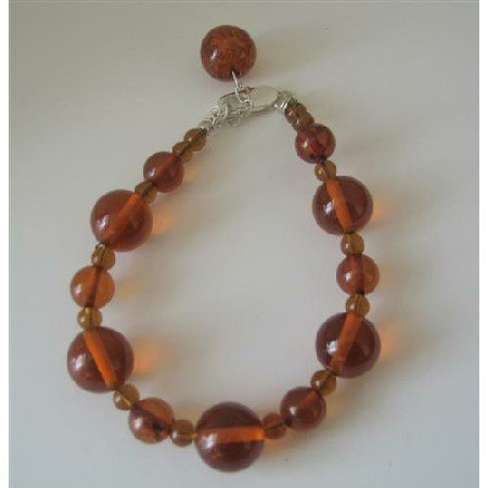 TB357  Amber Resin Beaded Bracelet w/ Toggle Clasp