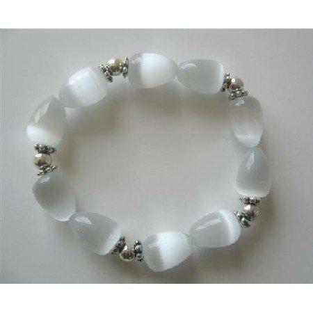 TB360  White Opal Teardrop Stretchable Bracelet Cat Eye Teardrop w/ Bali Rondells