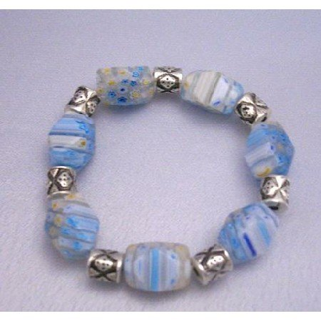 TB286  Beautiful Shades Of Blue Millefiori Stretchable Bracelet