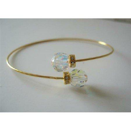 TB331  Gold Plated Wire Bracelet Swarovski AB Crystals Jewelry w/ Rondells