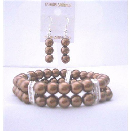 TB411Bracelet & Earrings Simulated Brown Pearls Double Stranded Stretchable w/ Silver Rondells