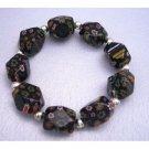 TB285  Black Millefiori Bracelet Stretchable Bracelet