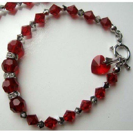 TB268  Elegant Heart Dangling Bracelet w/ Genuine Swarovski Red Siam Crystals & Toggle Clasp