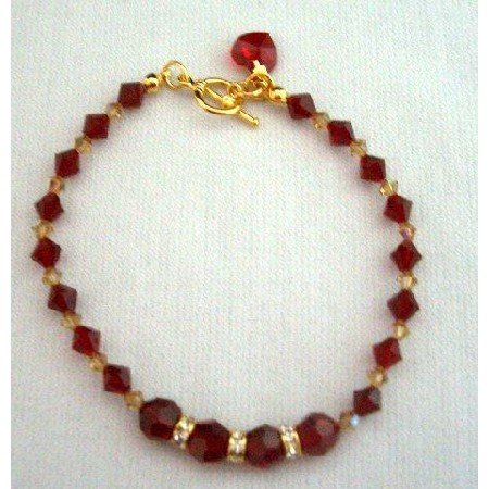 TB252 Swarovski Red Siam Crystals In 22k Gold Plated Bracelet w/ Heart Dangling Toggle Clasp
