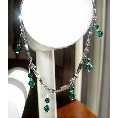 TB203  This Bracelet is Exquisite Beauty in Emerald Swarovski Crystals