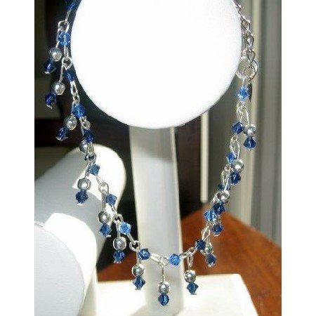TB207  Sapphire Crystals Bracelet Hand Made