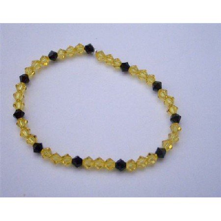 TB355  Dark Joquil Crystals And Jet Swarovski Crystals Stretchable Bracelet