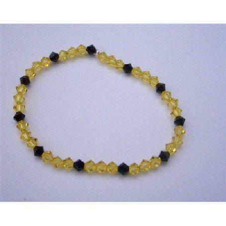 TB355  Dark Joquil Crystals And Jet Swarovski Crystals Stretchable Bracelet