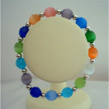 TB339  Multi colored Faceted Cat Eye Beaded Stretchable Bracelet w/ Silver Beads Spacing Bracelet