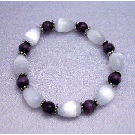 TB287  Genuine 12mm White Cat Eye Tear Drop Bracelet w/ Purple Cat eye