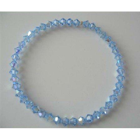 TB363  Lite Sapphire Swarovski Crystals Stretchable Bracelet Genuine Swarovski Crystals