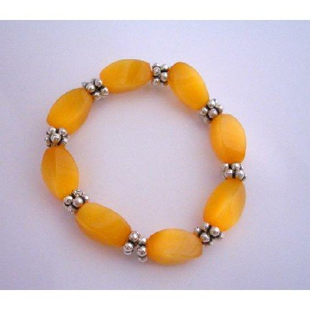 TB296  Saffron Citrine Barrel Beads Stretchable Bracelet Saffron November BirthStone Bead Bracelet