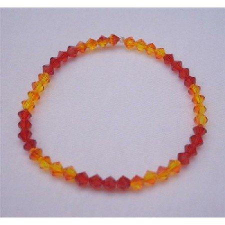 TB354  Red Orange Swarovski Crystals Stretchable Bracelet Genuine Swarovski Crystals