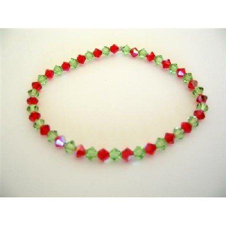 TB321  Peridot & AB Siam Red Swarovski Stretchable Bracelet