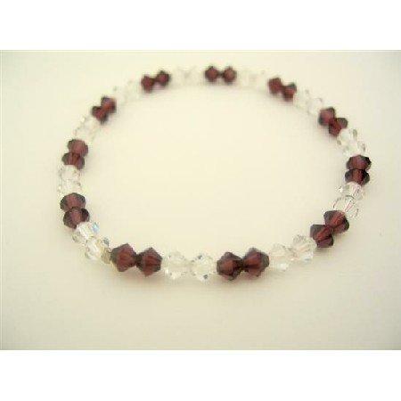 TB317  Swarovski Crystals Jewelry Amethyst & AB Crystals Stretchable Bracelet
