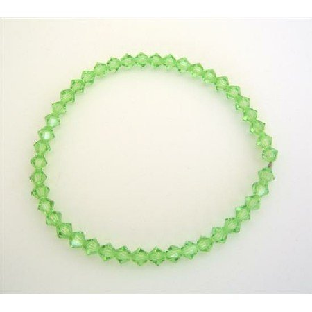 TB312  Affordable Stretchable Bracelet Genuine Peridot Crystals Swarovski Jewlery