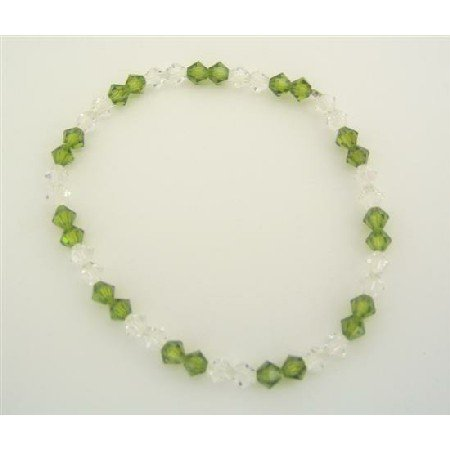 TB310  Crystals Stretchable Bracelet Genuine Swarovski Clear & Peridot Crystals Jewelry