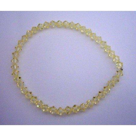 TB300  Jonquil Swarovski Crystals Bracelet Genuine Swarovski Crystals Stretchable Bracelet Jewelry