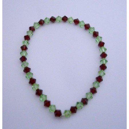 TB299  Swarovski Crystals Stretchable Bracelet w/ Swarovski Siam Red & Peridot Crystals Bracelet