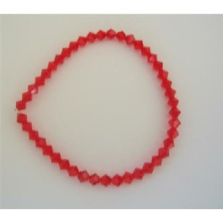 TB311  Siam Red Swarovski Crystals Stretchable Bracelet