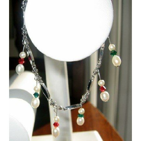 TB208  Gorgeous Fresh water Pearls white and Siam Red and Emerald Crystals