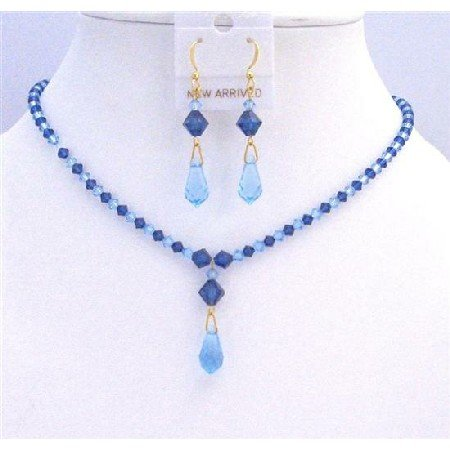 BRD827  Blue Swarovski Crystals Aquamarine Sapphire Crystals Jewelry Set
