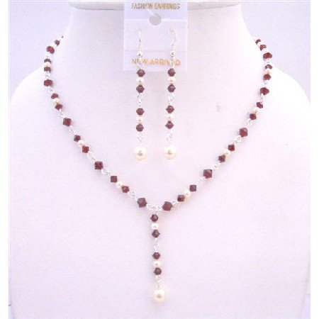 BRD667 Dark Siam Red Crystals Drop Down Necklace w/ White Swarovski Pearls Jewelry Set