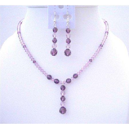 BRD421  Swarovski Amethyst Light & Dark Crystals Jewelry Set w/ Drop Down Wedding Bridal Jewelry