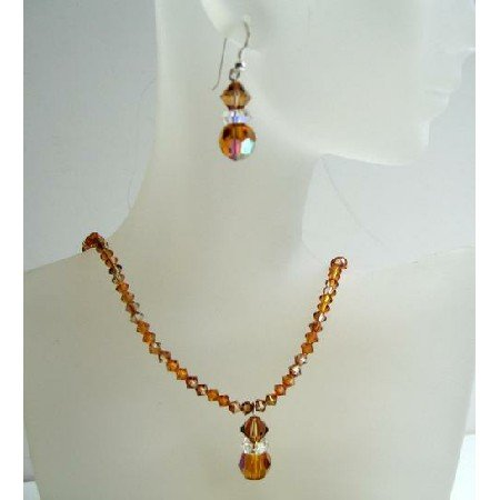 BRD369 Swarovski Crystals w/Swarovski Topaz AB Topaz and Copper Crystals Cute Dangling