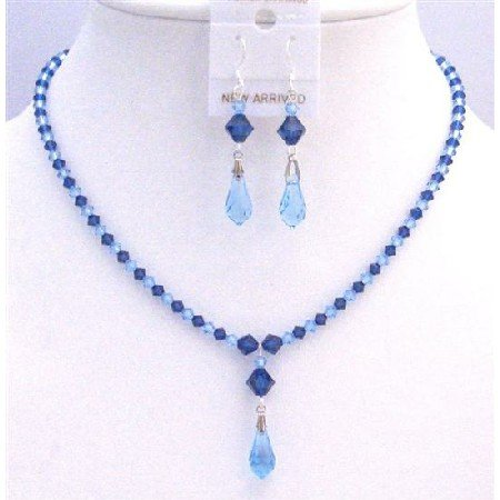 BRD849  Prom Jewelry Blue Swarovski Crystals Aquamarine Sapphire Crystals Jewelry Set