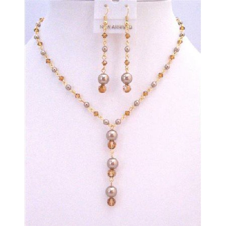 BRD878  Copper Swarovski Crystals Jewelry Set Hanmade Custom Bronw Pearls Copper Crystals