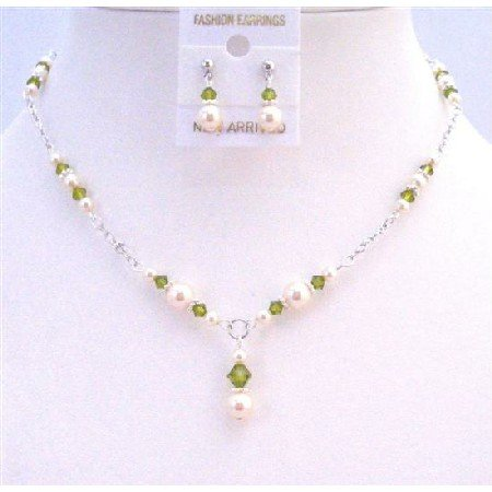 BRD839 Olivine Swarovski Crystals Ivory Pearls Jewelry Drop Down Necklace Set