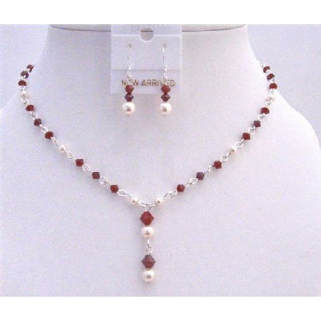 BRD863 Swarovski Ivory Pearls & Dark Siam Red Crystals Deep Red Bridemaids Prom Jewelry Set